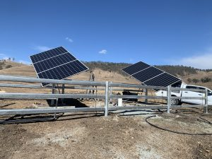New Mono solar tracking system installed at Woko. The 1710 watt tracking system is pumping from a new bore 35 meters deep, and 70 meter head and producing 16,000ltrs per day