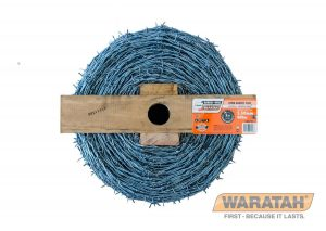 LONGLIFE BLUE® IOWA Made from 2.50mm soft/low tensile wire in a continuous twist pattern. Greater fire resistance than high tensile wires making it more effective in fire prone areas. Easier to handle along the fence line than high tensile wire. Continuous twist pattern locks the barbs in place to avoid any movement with stock pressure. Consistent and closer barb spacing means more barbs for maximum stock pressure and security. No join in the wire coil provides consistent strength along the length of the reel. Used as a sight or bottom wire helps cope with added pressure from prime lambs and feral animals.BARBED WIRE