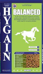 Hygain® Balanced® is a pelleted all-round, low dose balancer feed concentrate that provides high levels of Vitamin E and Selenium for cell health, Biotin for hoof and coat health, Chelated Minerals, quality protein and essential amino acids for muscle development.