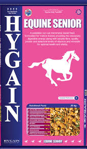Hygain® Equine Senior® A palatable non-oat micronized sweet feed, formulated for mature horses providing the necessary digestible energy along with soluble fibre, quality protein and balanced levels of vitamins and minerals for optimal health and vitality.