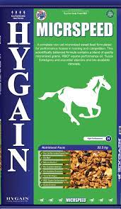 Hygain Micrspeed is a non-oat micronized sweet feed formulated for performance horses in training and competition.