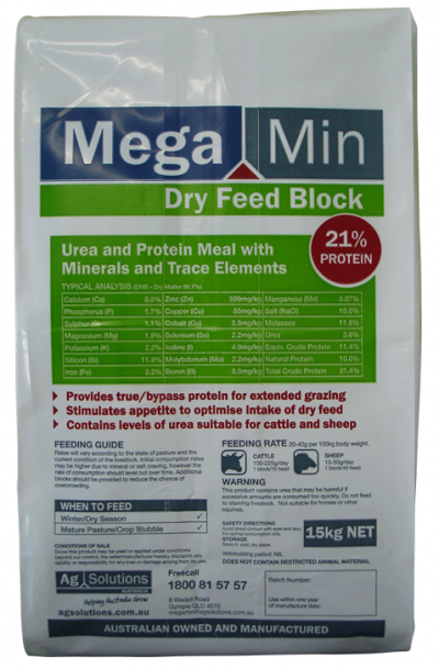 Protein Supplement with Macro Minerals and Trace Minerals for Winter, Dry Feed and Drought Conditions Stock grazing drought, frosted or dry pastures Protein and broad spectrum mineral supplementation for cattle and sheep May assist in improving growth of young cattle and maiden heife