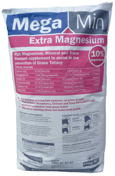 High Magnesium, Macro Minerals and Trace Minerals to Assist in the Prevention of Grass Tetany Stock grazing lush pastures, ryegrass, oats and winter cereals Stock scouring on green feed High stress periods to assist meat quality Pre-calving/lambing and weaning Stock running on low Calcium and Magnesium soils Also available in a highly palatable blend MegaMin Extra Magnesium Sweet