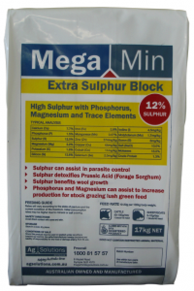 High Sulphur Supplement with Phosphorus, Magnesium and Trace Minerals Stock grazing forage sorghum and lush green feed Assisting with parasite control Supplying key nutrients for wool growth