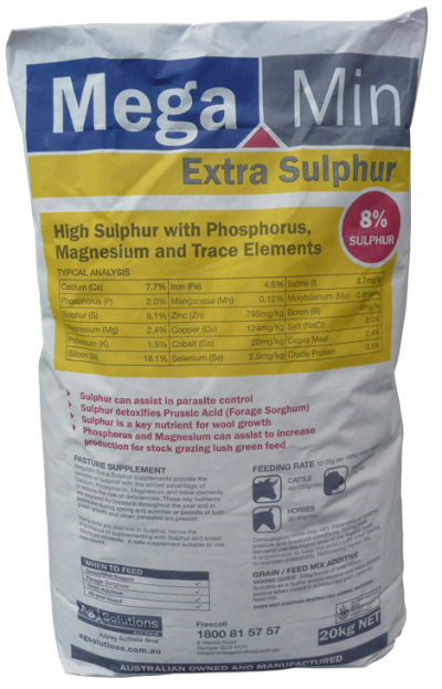 High Sulphur Supplement with Macro Minerals and Trace Minerals Stock grazing forage sorghum and lush green feed Assisting with parasite control Supplying key nutrients for wool growt